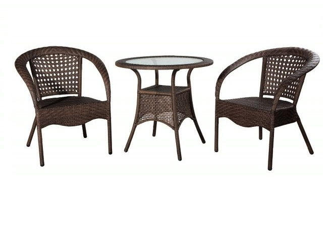 ratan garden set berlin table 2 chairs metal and. Black Bedroom Furniture Sets. Home Design Ideas
