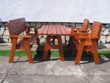 Garden Set Drevoland-Lux 2 (Table+2 Benches+2 Chairs)