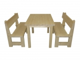 Dining Set Drevoland-Gastro 125cm, tl.42mm (table+2benches)