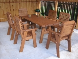Garden Set Drevoland Maxi-Lux 2,0m, tl.45mm(Table +1 Bench+5 Chairs)